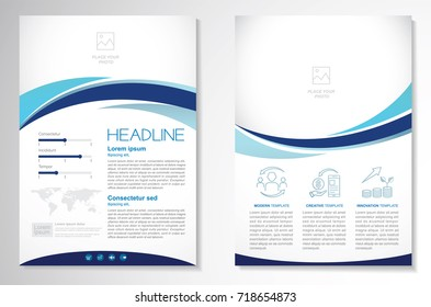 Template vector design for Brochure, Annual,  Magazine, Poster, Corporate Presentation, Portfolio, Flyer, infographic, layout modern with blue color size A4, Front and back, Easy to use and edit.