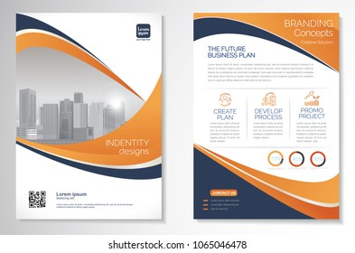 Template vector design for Brochure, AnnualReport, Magazine, Poster, Corporate Presentation, Portfolio, Flyer, infographic, layout modern with Orange color size A4, Front and back, Easy to use and edi