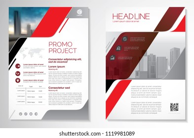 Template vector design for Brochure, AnnualReport, Magazine, Poster, Corporate Presentation, Portfolio, Flyer, infographic, layout modern with red color size A4, Front and back, Easy to use and edit.