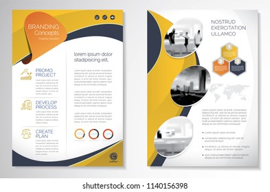 Template vector design for Brochure, AnnualReport, Magazine, Poster, Corporate Presentation, Portfolio, Flyer, infographic, layout modern with yellow color size A4, Front and back, Easy to use.