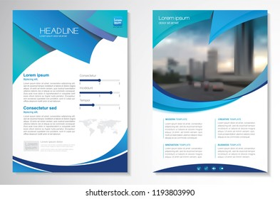 Template vector design for Brochure, AnnualReport, Magazine, Poster, Corporate Presentation, Portfolio, Flyer, infographic, layout modern with blue color size A4, Front and back, Easy to use and edit.