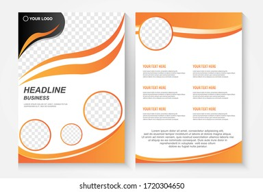 Template vector design for Brochure, AnnualReport, Magazine, Poster,Portfolio,infographic, layout modern with Orange color size A4, Front and back, Easy to use.