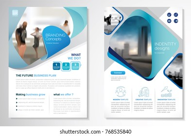 Template vector design for Brochure, AnnualReport, Magazine, Poster, Corporate Presentation, Portfolio, Flyer, infographic, layout modern with blue and green color size A4, Front and back