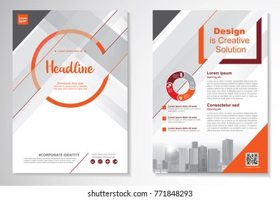 Template vector design for Brochure, AnnualReport, Magazine, Poster, Corporate Presentation, Portfolio, Flyer, infographic, layout modern with Orange color size A4, Front and back, Easy to use .