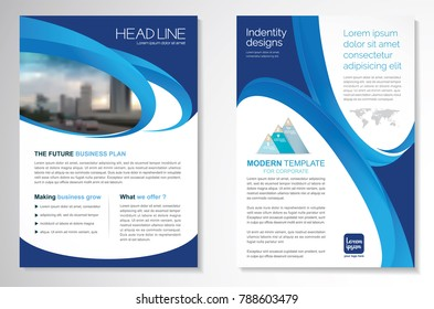 Template vector design for Brochure, AnnualReport, Magazine, Poster, Corporate Presentation, Portfolio, Flyer infographic layout modern with blue color size A4, Front and back, Easy to use and edit.