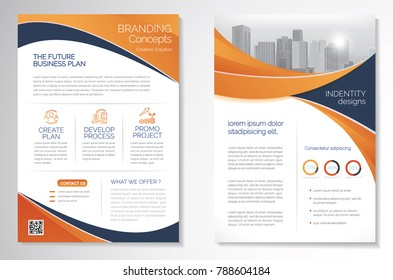 Template vector design for Brochure, AnnualReport, Magazine, Poster, Corporate Presentation, Portfolio, Flyer, infographic, layout modern with Orange color size A4, Front and back, Easy to use