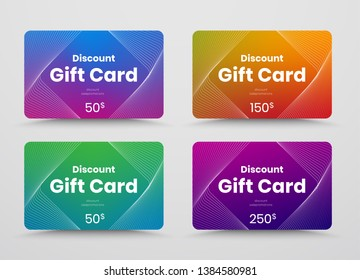 Template vector gift card with color gradient and intersecting abstract lines. Design with a rhombus for text. Set