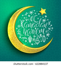 Template vector greeting card with moon, star and handwritten inscription Ramadan Kareem. Arabian pattern on turquoise background. Shiny golden crescent. Hand drawn elements: lanterns and flowers.