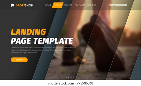 Template vector header with diagonal elements for photo and text. Material design of the banner for the web. Landing page