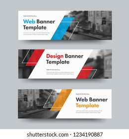 Template of vector horizontal web banners with diagonal color design elements and space for photo. A set of standard size for business and advertising.