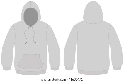 Template vector illustration of a blank hooded sweater. All objects and details are isolated. Colors and white background color are easy to adjust/customize.