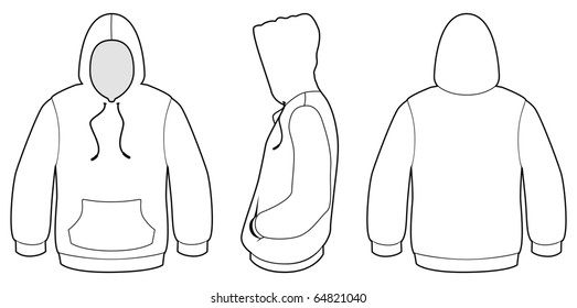 Template vector illustration of a blank hooded sweater. All objects and details are isolated. Colors and transparent background color are easy to adjust/customize.