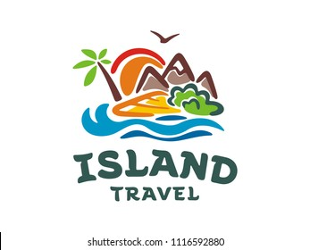 Template vector logo of the island. Illustration of travel around the island.