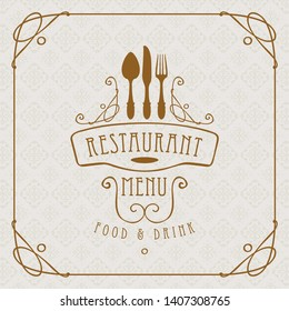 Template vector menu for restaurant with flatware and curlicues in baroque style with light seamless background pattern