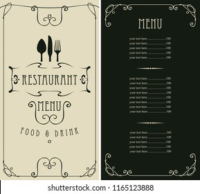 Template vector menu for restaurant with price list, flatware in frame with curls in baroque style