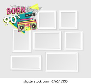 Template vector photo frames on white background with images. Back to the 90's. Disco elements.
