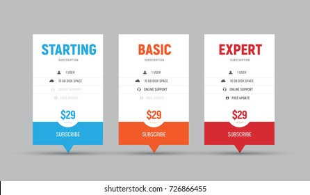 Template of vector price tables for arrows. White banner design with colored elements for business. Set