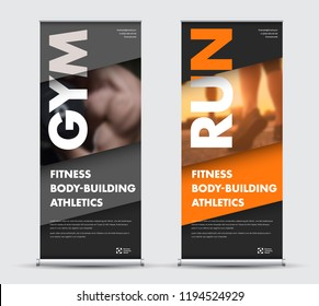 Template vector roll-up banner in geometric modern style with place for photo. Design for sports, business with orange, gray and black diagonals.