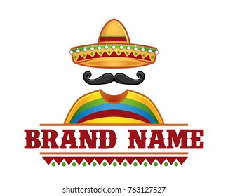 template sombrero mustache icon template stock vector royalty free