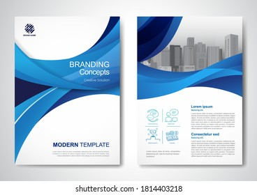 Template vector wave design for Brochure, Annual Report, Magazine, Poster, Corporate Presentation, Portfolio, Flyer, infographic, layout modern size A4, Front and back, Easy to use and edit.