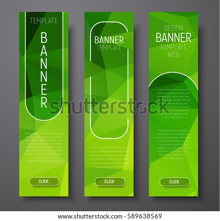 template vertical banners polygonal abstract green stock vector
