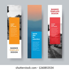 Template of vertical vector banners with transparent colored dice for text and place for photo. Set of designs for web sites.