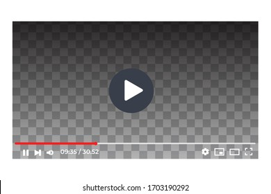 Template video frame. video player pc layout. Video online content mockup. Social media content video Vector illustration.
