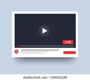 Template video player PC, live streaming, mockup online channel. Social media channel. Web element. Video online, blogger streaming. Vector illustration. EPS 10