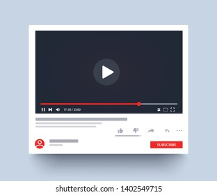 Template video player. Social media. Mockup video channel. Web windows player. Video content, blogging. Vector illustration. EPS 10