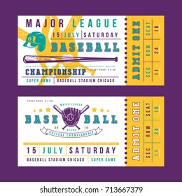 Template for vintage baseball ticket. Graphic design with image of bat, glove, helmet