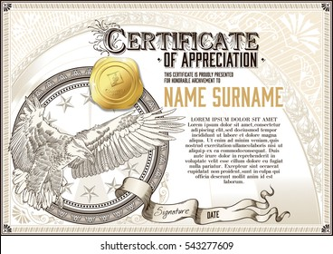Template of vintage Certificate of Appreciation with flying eagle and golden badge