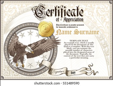Template of vintage Certificate of Appreciation with flying eagle and golden badge, with patterns