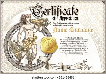 Template of vintage Certificate of Appreciation with god Hermes and golden badge, with patterns