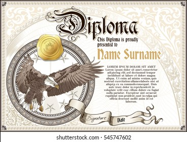 Template of vintage Diploma with flying eagle, with golden badge and vignettes