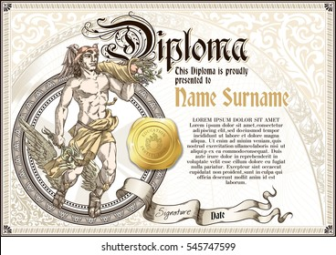 Template of vintage Diploma with god Hermes, with golden badge and vignettes
