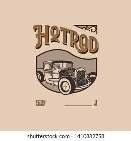 template vintage logo hotrod retro design