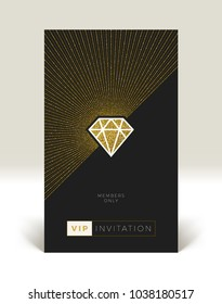 Template of VIP invitation. Glitter gold shining diamond with sunburst on a black background. Vector illustration