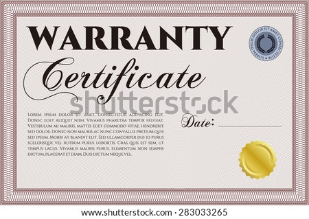 Template Warranty Certificate Complex Design Retro Stock Vector