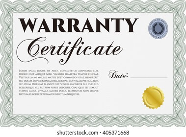 Template Warranty Certificate Border Frame Quality Stock Vector