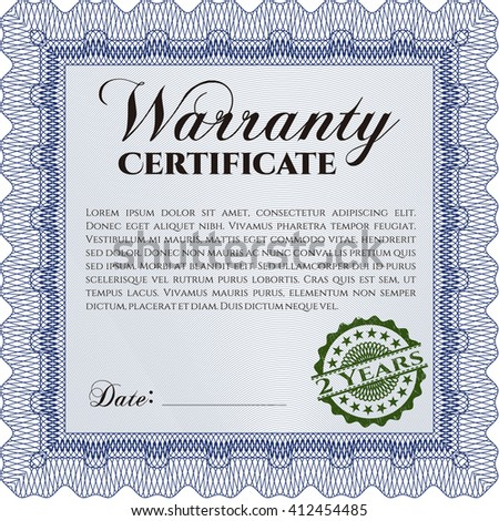 Template Warranty Certificate Quality Background Border Stock Vector
