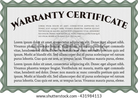 Template Warranty Certificate Quality Background Superior Stock