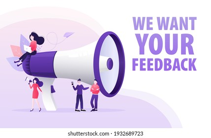 Template with we want your feedback people with megaphone on background for flyer design. Vector illustration in flat style.