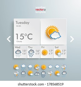 Template weather design on the grey background. Eps 10 vector file.