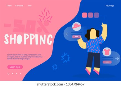 Template web page about sale and shopping