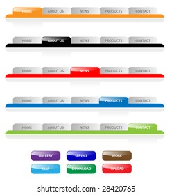 Template of web site page navigation menu, map for internet browser in gray, black, red, yellow, blue and green colors isolated on white background