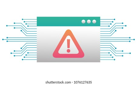 template webpage with alert sign and circuit