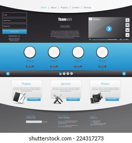 Template for website, eps10 vector with video player