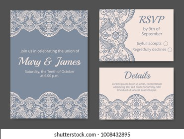 Template of wedding cards with lace border on gray background