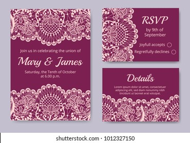 Template of wedding cards with lace border on red background