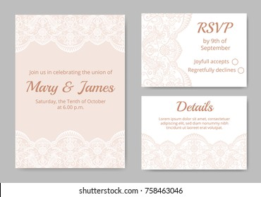 Template of wedding cards with lace border on beige background